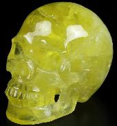 "GOOD QUALITY Huge 5.0"" Citrine Carved Crystal Skull, Realistic, Crystal Healing"