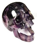 "Huge 5.3"" Fluorite Carved Crystal Screaming Skull"