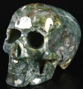 "Huge 5.1"" Green Moss Agate Carved Mitchell-Hedges Crystal Skull Replica, Skull of Doom"