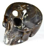 "Huge 5.2"" Agate Carved Mitchell-Hedges Crystal Skull Replica, Skull of Doom"