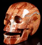 "HUGE 5.1"" Red Jasper Carved Crystal Singing Skull"