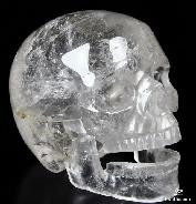 "HUGE 5.0"" Quartz Rock Crystal Carved Crystal Singing Skull"