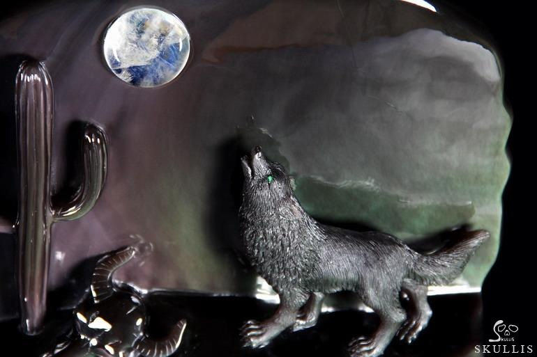 Rainbow Obsidian Crystal Howling Wolf at Night Sculpture