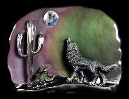"Original 10.6"" Rainbow Obsidian Carved Crystal Howling Wolf at Night Sculpture in Moon Light"
