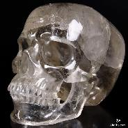 "Giant 8.1"" Smokey Quartz Rock Crystal Carved Crystal Skull, Super Realistic"