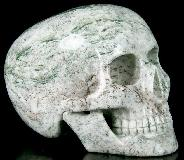 "Huge 5.1"" Tree Agate Carved Mitchell-Hedges Crystal Skull Replica, Skull of Doom"