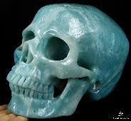 "Giant 7.8"" Chinese Amazonite Carved Crystal Skull, Super Realistic"