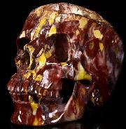 "Giant 7.9"" Colorful Mookaite Jasper Carved Crystal Skull, Super Realistic"
