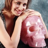 "TITAN 12.4"" Rose Quartz Carved Crystal Skull, Super Realistic"