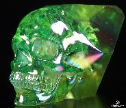 "Green 4.7"" Rainbow Aura Titanium Quartz Rock Crystal Carved Skull Sculpture, Realistic Point/wand Skull"