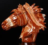 "HUGE 7.9"" Red Jasper Carved Crystal Horse Head Sculpture with Kambaba Jasper Stand"