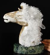 "Huge 7.6"" Quartz Druse Carved Crystal Horse Head with Kambaba Jasper Stand"