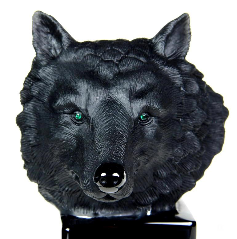 Black Obsidian Crystal Wolf Skull & Emerald Eyes Sculpture