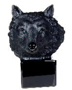 "Huge 5.7"" Black Obsidian Carved Crystal Wolf Skull & Emerald Eyes Sculpture"