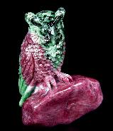 "Awesome Gemstone 3.1"" Ruby Carved Carved Crystal Owl Sculpture"
