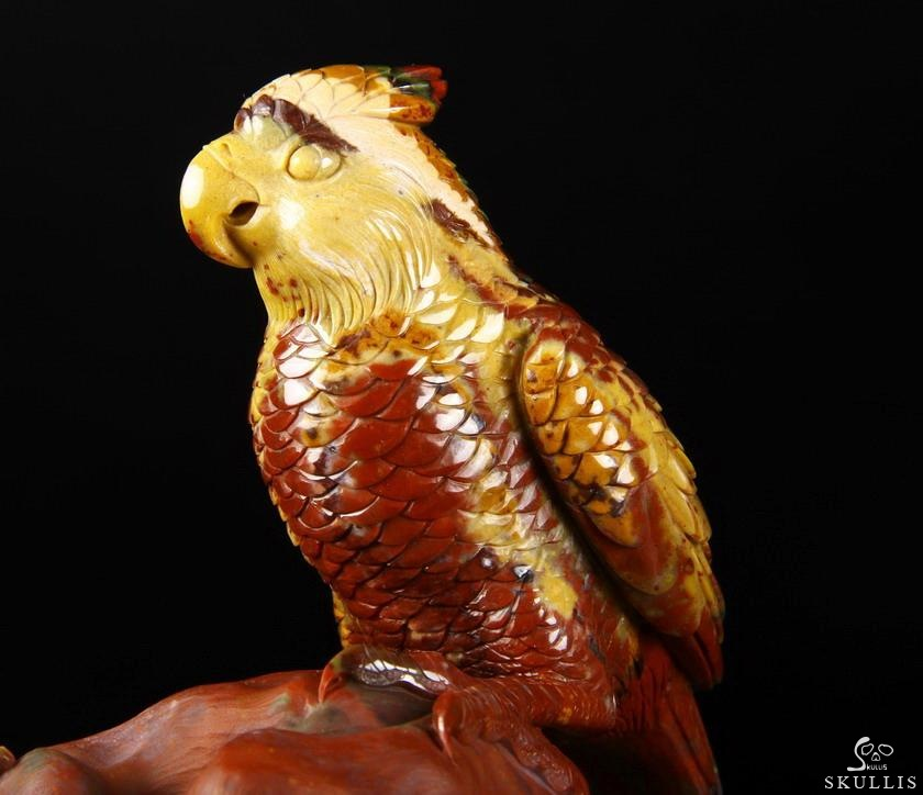 Bloodstone Crystal Parrot Sculpture