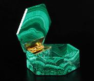 "2.7"" Malachite Carved Crystal Jewelry Box, Crystal Healing"