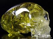 "STUNNING QUALITY RAINBOWS HUGE 7.0"" Citrine Carved Elongated Mayan Alien Crystal Skull"