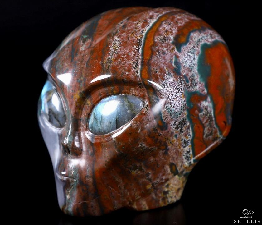 Bloodstone Crystal Female Alien Skull With Labradorite Eye