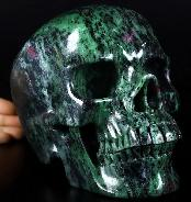 "Lifesized 7.5"" Ruby Zoisite Carved Crystal Skull, Super Realistic, Crystal Healing"