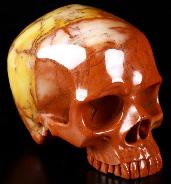 "5.0"" Three Colorful Agate Carved Crystal Skull Without Jaw, Super Realistic, Crystal Healing"