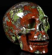 "5.5"" Dragon Blood Jasper Carved Crystal Singing Skull, Realistic, Crystal Healing"