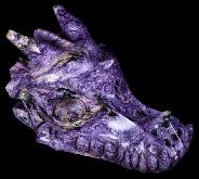 "5.1"" Russian Charoite Carved Crystal Dragon Skull, Crystal Healing"