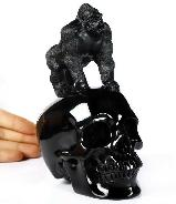 "New 6.3"" Black Obsidian Carved Crystal Skull With Gorilla Sanding Sculpture, Crystal Healing"