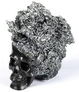 "Original 4.0"" Stibnite Carved Crystal Skull Sculpture, Crystal Healing"