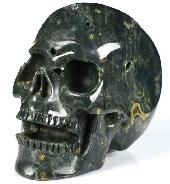 "Huge 5.0"" Ocean Jasper Carved Crystal Singing Skull, Crystal Healing"