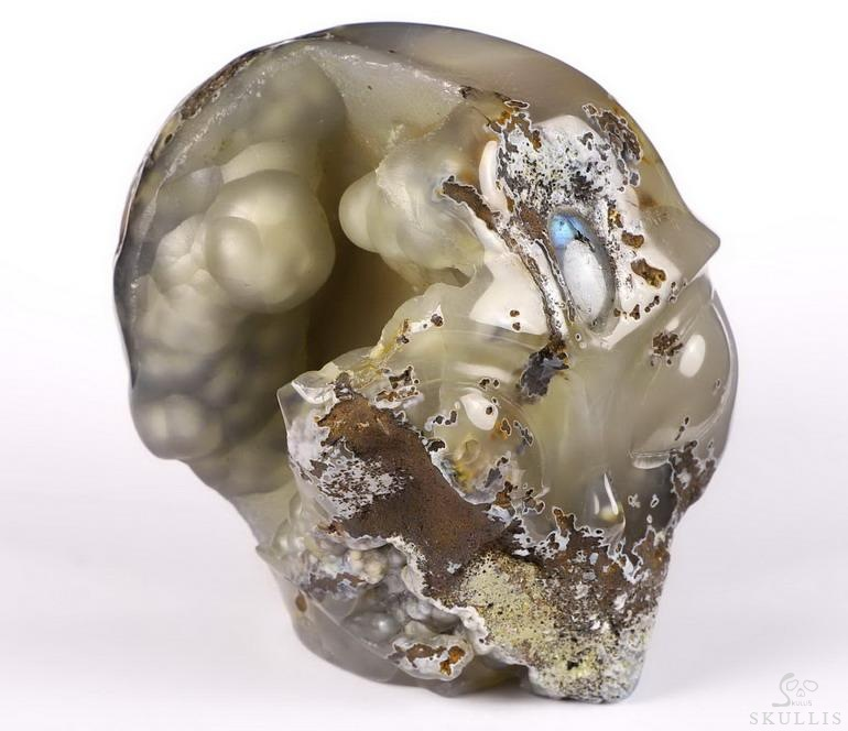 Agate Geode Crystal Female Alien Skull, Labradorite Eye of Heaven