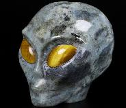 "Flash 4.2"" Labradorite Carved Crystal Female Alien Skull, Tiger Eye Eyes, Crystal Healing"