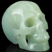 "NEW STONE Huge 5.0"" Blue Ice Jade Carved Crystal Skull, Realistic, Crystal Healing"