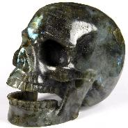 "Huge 5.9"" Labradorite Carved Crystal Singing Skull"