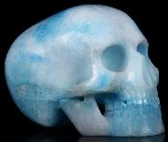 "5.0"" Blue Aragonite Carved Crystal Mitchell-Hedges Skull, Realistic"