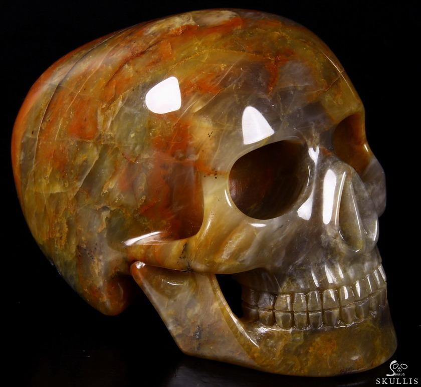 Three Colorful Agate Crystal Mitchell-Hedges Skull