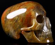 "5.3"" Three Colorful Agate Carved Crystal Mitchell-Hedges Skull, Realistic"