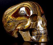 "5.3"" Tiger Iron Eye Carved Mitchell-Hedges Crystal Skull Replica, Skull of Doom"