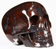 "5.0"" Chinese Bloodstone Carved Crystal Mitchell-Hedges Skull, Realistic"