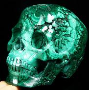 "Great Quality Gemstone 4.8"" Malachite Carved Crystal Skull, Super Realistic"
