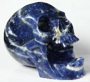 "HUGE 5.2"" Sodalite Carved Crystal Screaming Skull"