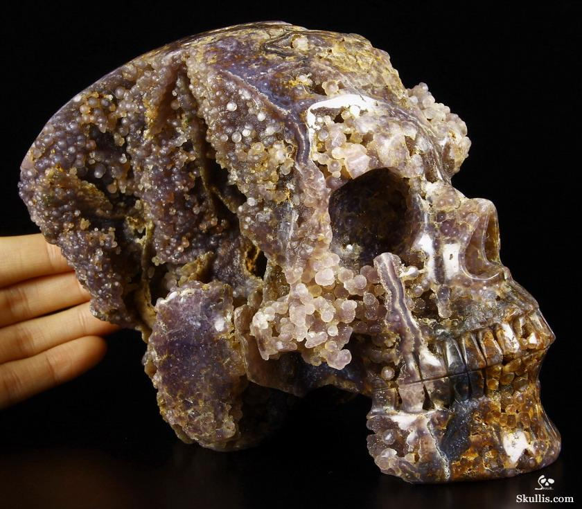 Purple Grape Agate Crystal Geode Skull
