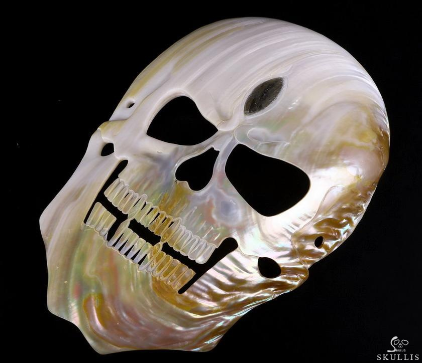 Shell Crystal Skull Mask With Labradorite Eye of Heaven