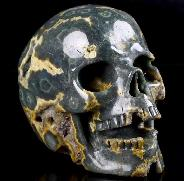 "Huge 5.1"" Ocean Jasper Geode Carved Crystal Singing Skull, Crystal Healing"