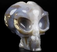"Huge 5.3"" Agate Geode Carved Crystal Alien Skull, Crystal Healing"