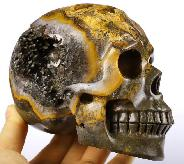 "Gemstone 5.0"" Empire Red Agate Geode Carved Crystal Skull Realisitic Skulls, Realistic"