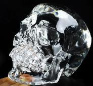 "Lifesized 7.5"" K9 Crystal Carved Crystal Skull,Super Realistic, Crystal Healing"