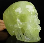 "Good Quality Lifesized 6.9"" Citrine Carved Crystal Skull,Super Realistic, Crystal Healing"