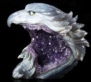 "AWESOME 6.7"" Agate Amethyst Geode Carved Crystal Eagle, Crystal Healing"