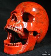 "Large 4.1"" Red Jasper Carved Crystal Screaming Skull"